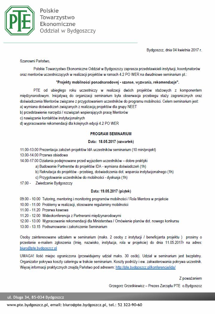 Zaproszenie Polskie Towarzystwo Ekonomiczne Oddział W Bydgoszczy